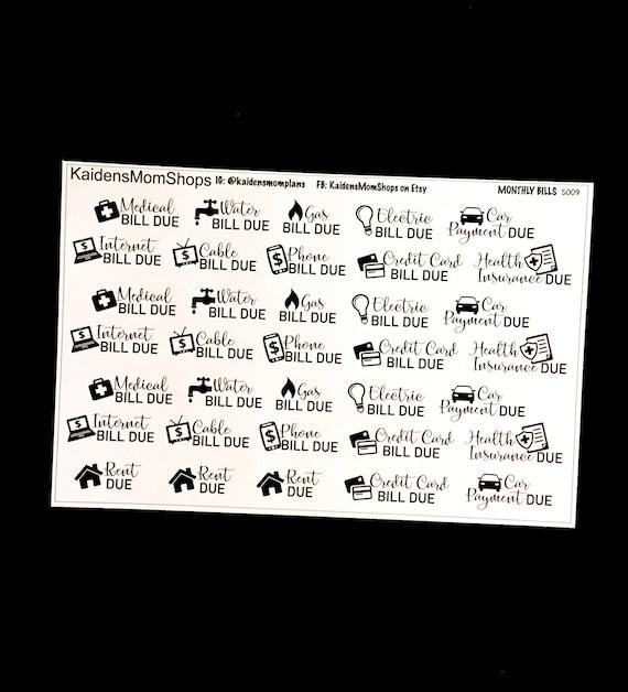 monthly bills sticker sheet icon bill pay for erin condren etsy