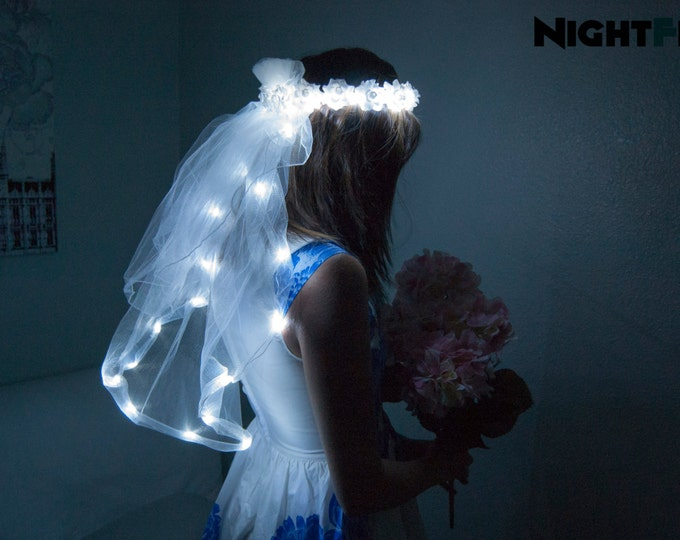 Featured listing image: White Rose NightFlo w/ Light Up Veil for Wedding & Bachelorette Parties