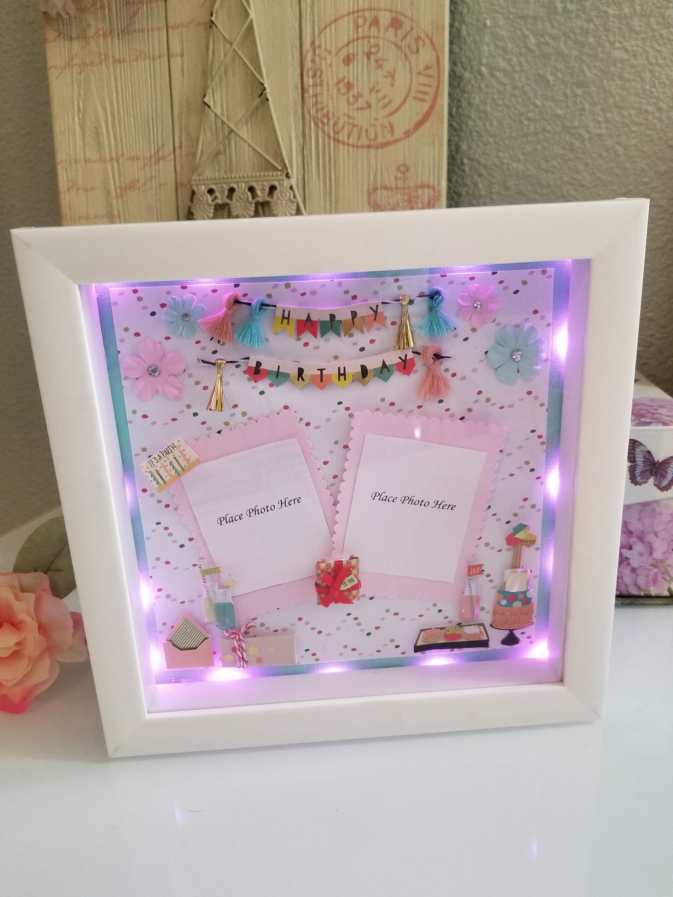 Children Birthday Baby PERSONALISED LIGHT UP UNICORN BOX FRAME Picture Frame