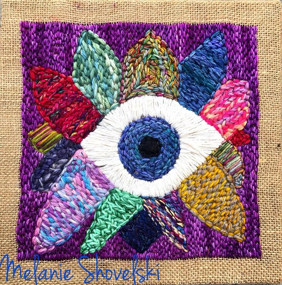 Nazar Evil Eye Third Eye Boho Hippie Original Embroidery Original Fiber Art Folk Art