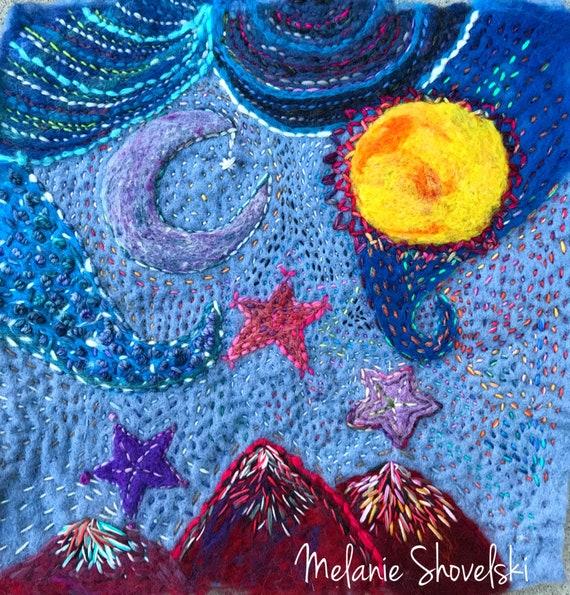 And We All Shine On - John Lennon Tribute Boho Hippie Original Embroidery Original Fiber Art Folk Art