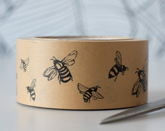 Kraft Packing Tape with Bee Design from the Honey Bee Collection, Recyclable Parcel Tape