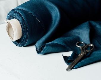 Linen Fabric - Navy -  Dark Blue - 100% Linen - Pure Linen - Helen Round - Helen Round Designs