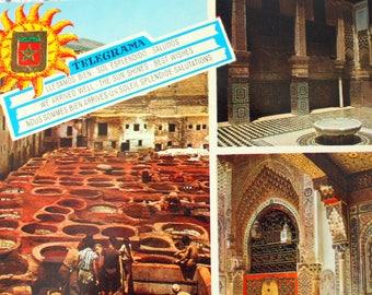 Fes Morocco postcard, vintage Morocco, Morocco souvenir, Fes souvenir, Fes Postcard, Morocco Stamps