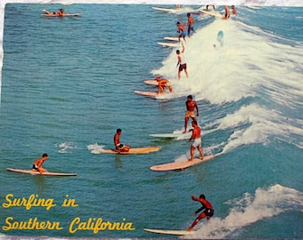Vintage Surfing Postcard, (fun to read) 1970's Surfing, Sports Postcard, California Postcard,  Blood Donor Stamp