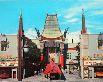 Grauman's Chinese Theatre Postcard, Vintage Hollywood Postcard, California Postcard, Movie premieres