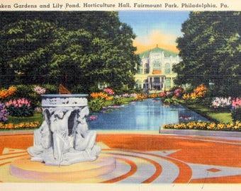 Vintage 1956 Fairmont Park Philadelphia Linen Postcard, with stamp, Philadelphia Postcard, Sunken Gardens, Pennsylvannia