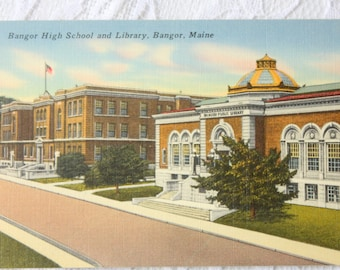 Bangor High School and Library, Bangor Maine Postcard, Vintage Bangor Postcard, linen postcard, Tichnor postcard