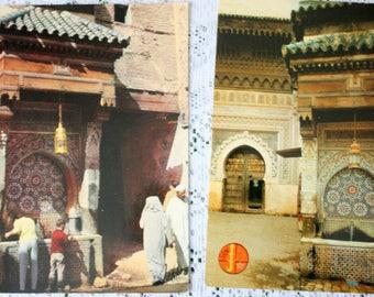 Set of two Nedjarine Fountain Postcard, Fes Postcard, Fes Morocco, Morocco Postcard, Morocco Stamps