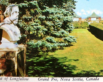 Bust of Longfellow Grand Pre Postcard / Nova Scotia Postcard /pCanada Postcard / Plastichrome 111972