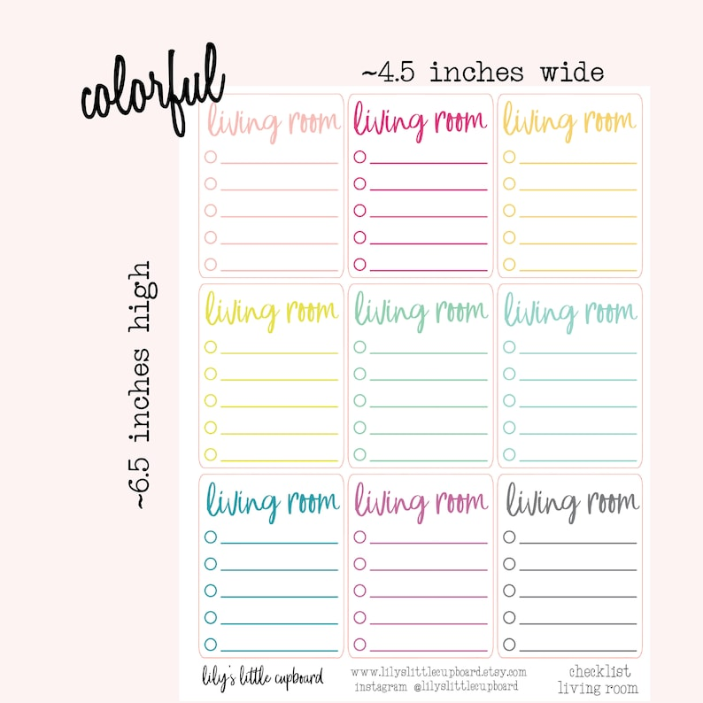 Exceptional Clean The Living Room Blank Checklist Planner Stickers | Etsy