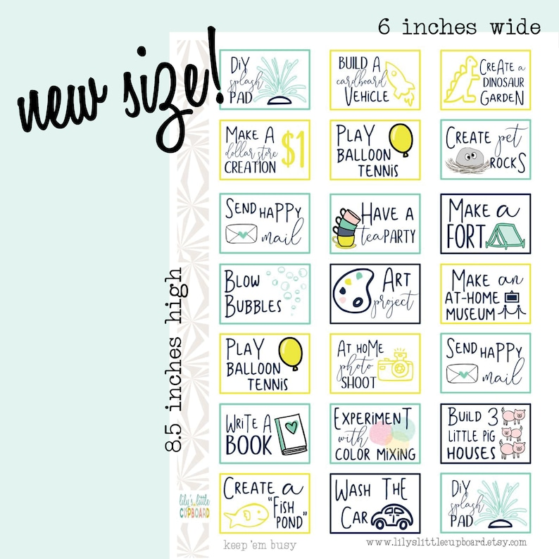 Keep Em Busy Kid Activity Planner Stickers  Mom Stickers  image 0