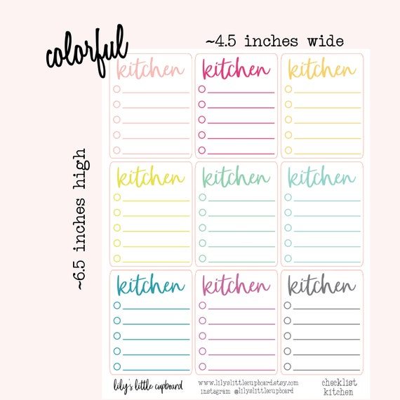 graphic relating to Blank Checklist known as Fresh the Kitchen area Blank Record Planner Stickers Kitchen area Cleansing Stickers Zone Cleansing Cleansing Planner Stickers (L0F3-4)