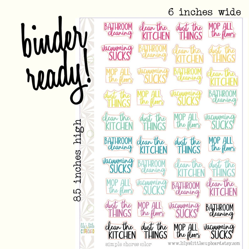Cleaning Colorful Planner Stickers  Cleaning Script Stickers image 0