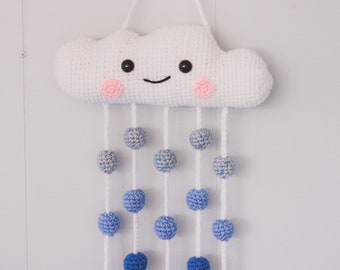 Cloud Mobile | Crochet Mobile | Rain Cloud | Happy Cloud | Nursery Decor | Amigurumi | Wall Hanging |