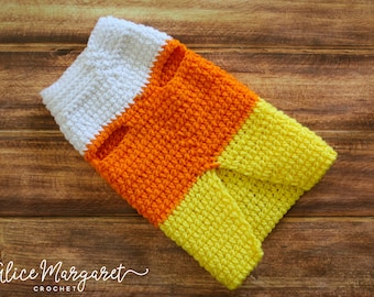 Candy Corn Dog Sweater | Small Breed | Crochet | Dog Costume | Halloween Theme | Dachshund | Chihuahua | Seasonal Item