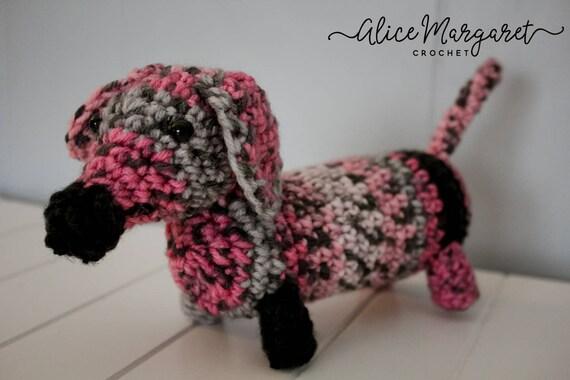 Amigurumi dog pattern for Lady Dachshund. Crochet colorful tabby ... | 380x570