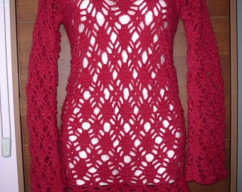 Pull lace pattern in red mohair