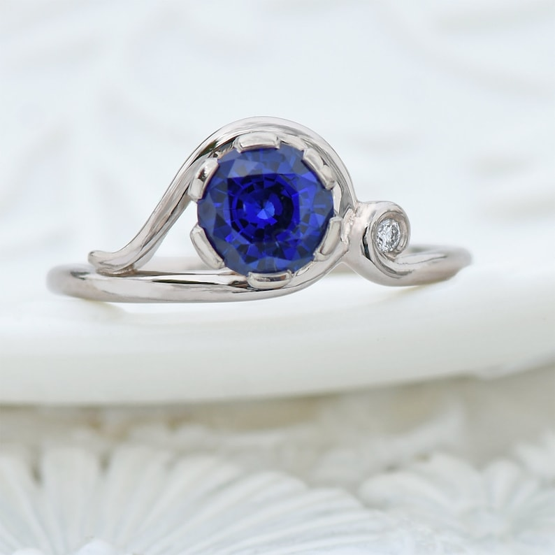 1079739e2eb523 Ornate Blue Sapphire Ring with Diamond Accent Ethical 18k | Etsy