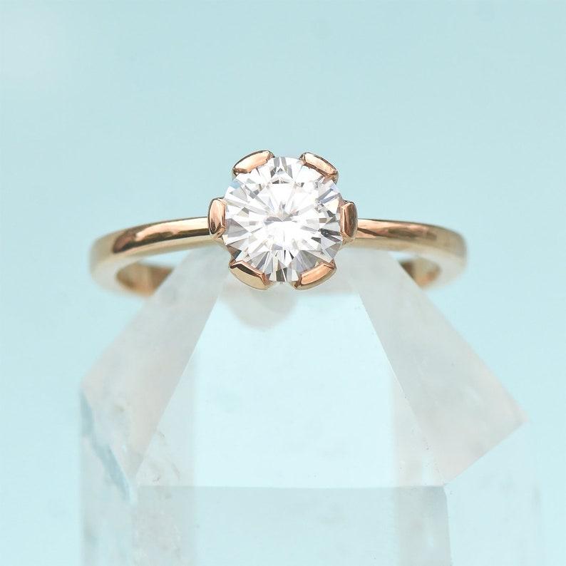 383ca0e53b90dc Moissanite Flower Engagement Ring in 18k Gold Fair Trade and | Etsy