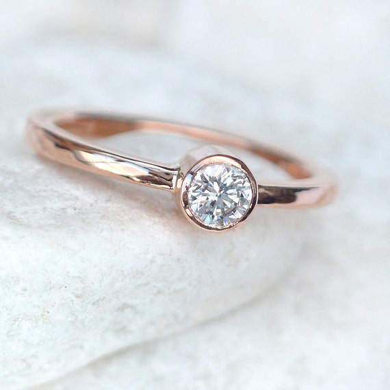dde00b7e20d144 Diamond Solitaire Engagement Ring in 18k Rose Gold - Eco Friendly -  Handmade to Size
