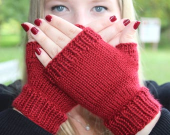 Ruby Red Fingerless Gloves