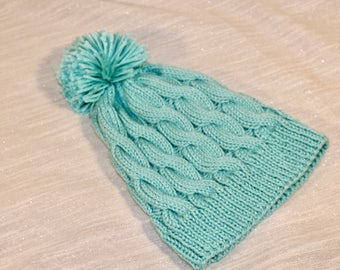Sky Blue Cabled Beanie