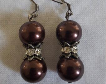Bronze glass bead earrings