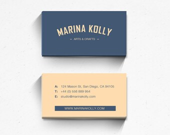 Custom business cards etsy business card design business card template printable business card custom business card modern hipster logo card blue peach colour reheart Image collections