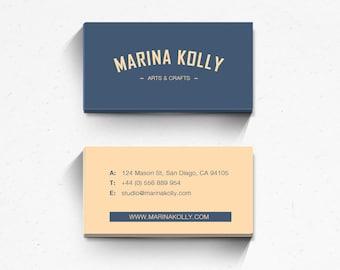 Business card design, business card template, printable business card, custom business card, modern, hipster, logo card, blue, peach colour