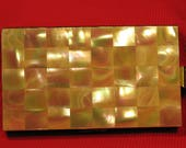 Vintage Mother of Pearl Compact Purse Minaudiere Vanity Case MOP Checkerboard