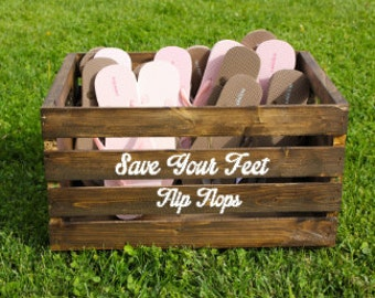 f4ce4ef27 Wedding Flip Flop Crate. Flip Flop Crate. Dancing Shoes Crate. Wedding Crate.  Wooden Crate. Stained Wooden Crate. Flip Flop Basket.