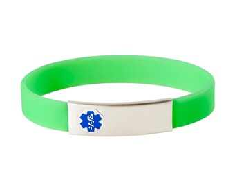 316L Stainless Interchangeable Medical Alert Sport ID Band-Free Custom Engraving, Card, Apps-Blue-9921BU
