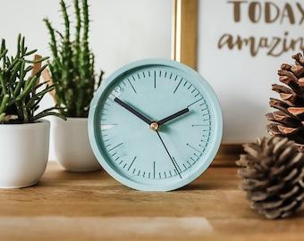 Turquoise Cement Clock/ Concrete Clock/ Stone Clock/ Home Deco