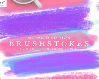 Brush Stokes, Mermaid Edition, Clip Art Set. Design Tools, Graphics, Backgrounds, Texture, Mermaid Colours, Pink Clip Art,