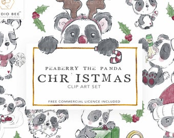 Panda Clipart, Christmas Clipart, Christmas countdown, Christmas Planner Stickers, Holiday Clipart, Commercial Clipart, Hand Drawn Clipart