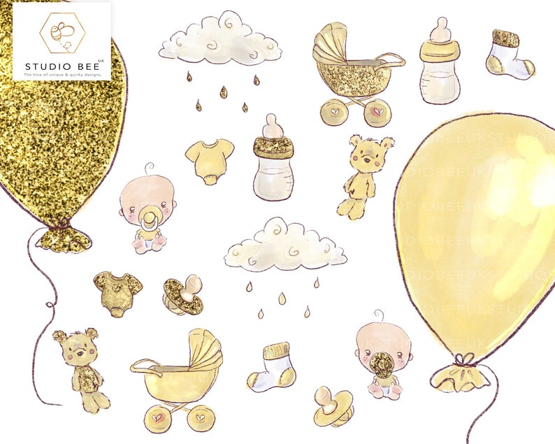 Baby Shower Clipart Yellow Baby Shower Neutral Baby Shower Etsy