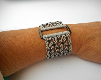 Micro Macrame Bracelet Crystal bracelet Gray bracelet Jade bracelet Personalized bracelet Hematite bracelet unique-gift for wife