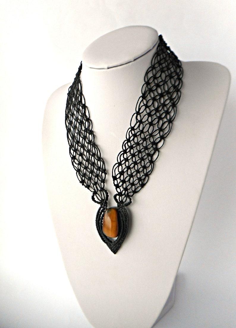 Black statement necklace Macrame necklace Micro macrame jewelry Bib necklace Black necklace for women Tigers eye necklace