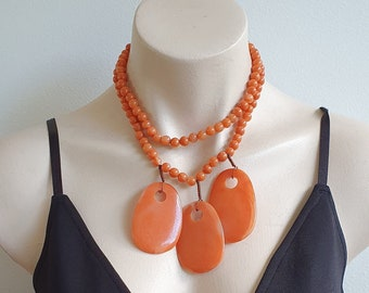 Orange Acrylic Necklace 1960s, Abstract Necklace 1960s, Burnt Orange Necklace, Funky Orange Necklace