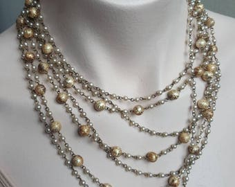 Vintage Pearl Necklace 1940s Pearl Chain Foil Glass Bead 7 Multistrand Necklace