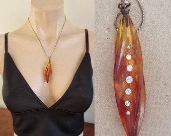 Vintage Bakelite Diamante Pendant, Amber Bakelite Pendant, Twisted Pendant