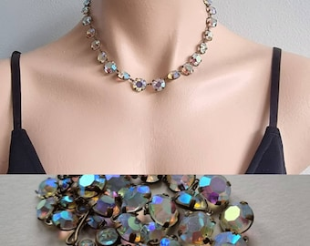 Vintage Crystal Iridescent Choker Necklace, AB Crystal Necklace