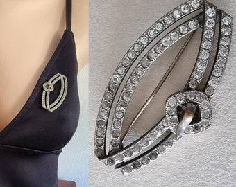 Art Deco Diamante Brooch, Deco Brooch, Deco Paste Brooch, Sparkly Art Deco Pin
