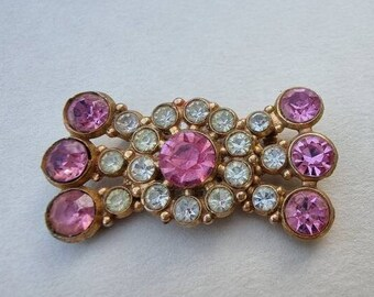 Vintage Pink White Floral Diamante Bow Brooch, Pink Diamante Brooch, Pink White Paste Brooch