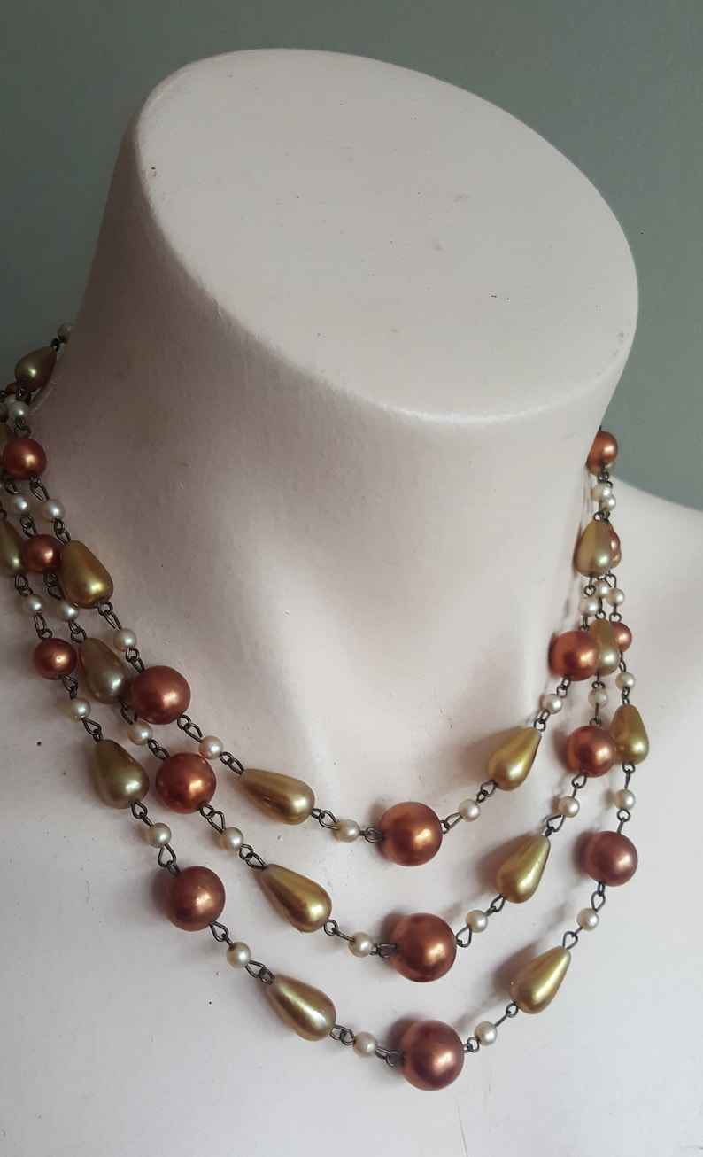 Vintage Multi-strand Necklace Gold Copper Faux Pearl Glass Beads 1950s