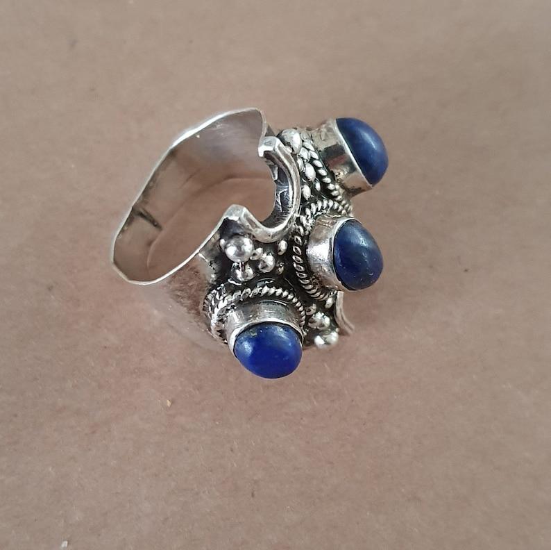 Vintage Tibetan Lapis Lazuli 925 Ring lapis Ethnic Ring Silver Blue Stone Ring Size US V UK 10.5 Ethnic Lapis Lazuli Ring Boho Ring