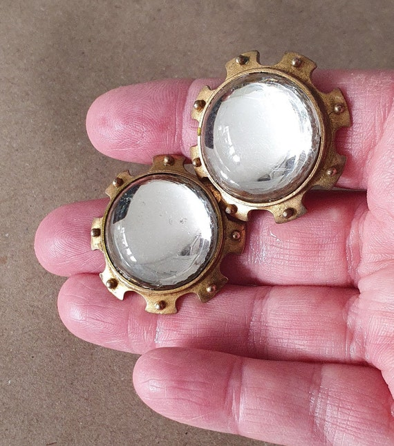 Farah Lister London Clip On Earrings, Vintage Sta… - image 4