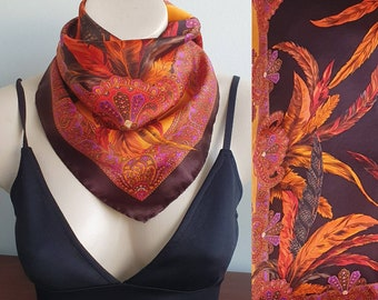 Vintage Escada Flame Feather Silk Scarf, Vintage Escada Silk Scarf, brown Orange Scarf