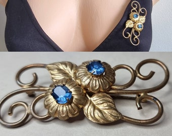 Vintage Czech Glass Brooch, Blue Paste Floral Repousse Brooch, Flower Brooch